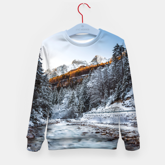 Autumn and winter river, forest and mountains Kid's sweater thumbnail image