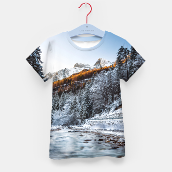 Autumn and winter river, forest and mountains Kid's t-shirt thumbnail image