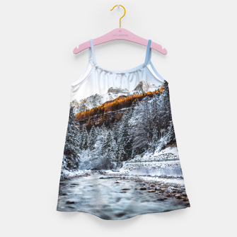 Autumn and winter river, forest and mountains Girl's dress thumbnail image