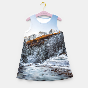 Autumn and winter river, forest and mountains Girl's summer dress thumbnail image