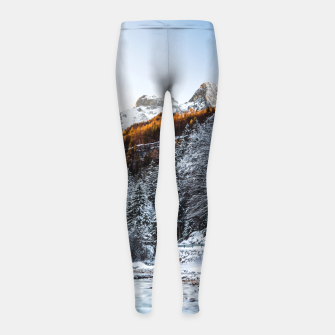 Autumn and winter river, forest and mountains Girl's leggings thumbnail image