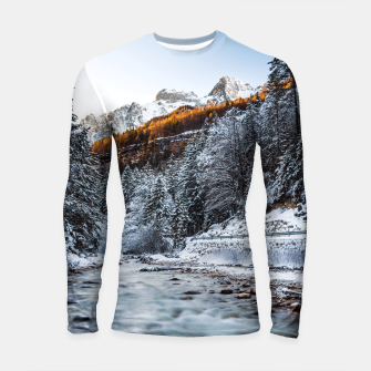 Autumn and winter river, forest and mountains Longsleeve rashguard  thumbnail image