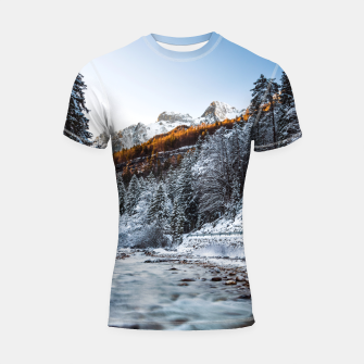 Autumn and winter river, forest and mountains Shortsleeve rashguard thumbnail image