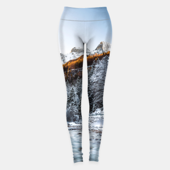 Autumn and winter river, forest and mountains Leggings thumbnail image