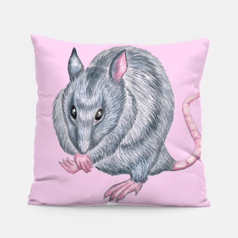 Thumbnail image of Blue rat art, pink background, cushion, Live Heroes