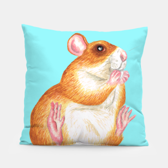 Thumbnail image of rat eating treat art, blue background, cushion, Live Heroes