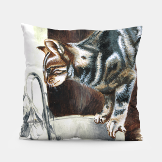 Thumbnail image of Cat painting cushion, Live Heroes
