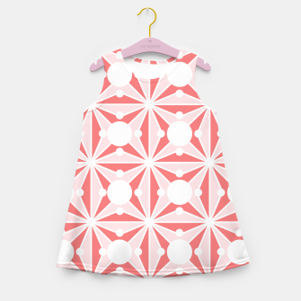 Miniatur Abstract geometric pattern - pink and white. Girl's summer dress, Live Heroes