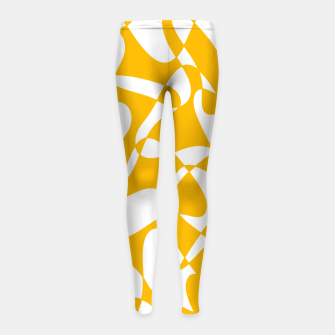 Abstract pattern - orange and white. Girl's leggings thumbnail image
