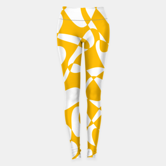 Abstract pattern - orange and white. Leggings thumbnail image