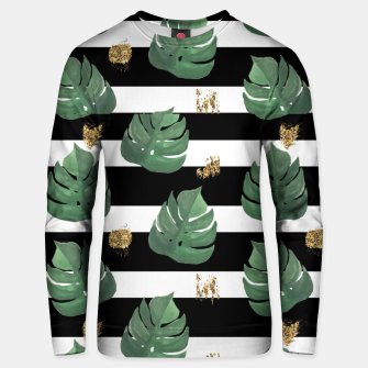 Thumbnail image of Seamless tropical leaves pattern on stripes background. Greens leaves of exotic monstera plant. Retro style illustration. Unisex sweater, Live Heroes