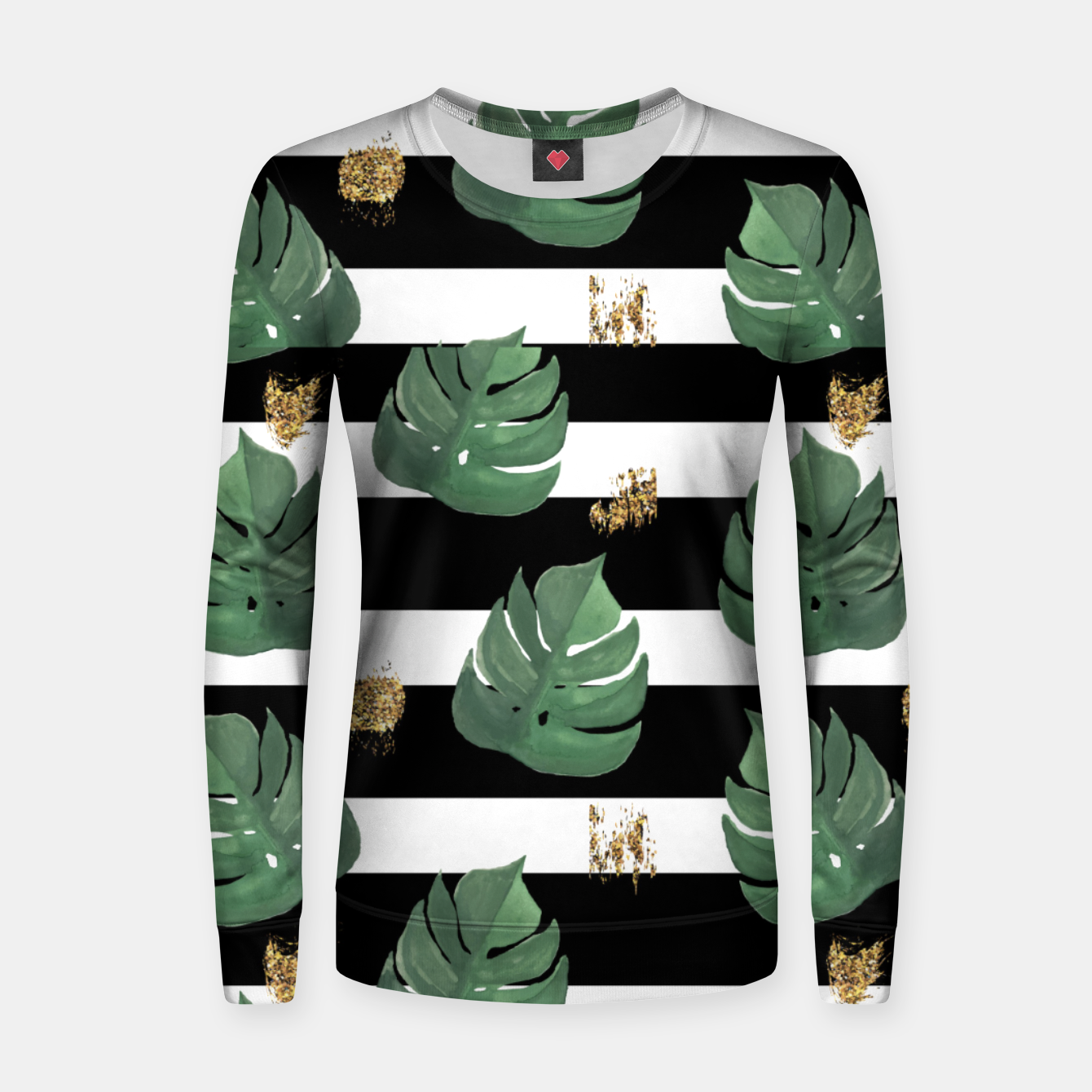 Image of Seamless tropical leaves pattern on stripes background. Greens leaves of exotic monstera plant. Retro style illustration. Women sweater - Live Heroes