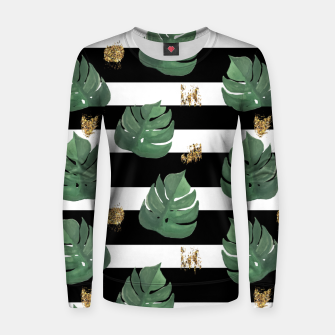 Thumbnail image of Seamless tropical leaves pattern on stripes background. Greens leaves of exotic monstera plant. Retro style illustration. Women sweater, Live Heroes