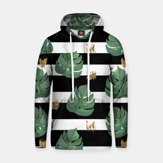 Imagen en miniatura de Seamless tropical leaves pattern on stripes background. Greens leaves of exotic monstera plant. Retro style illustration. Hoodie, Live Heroes