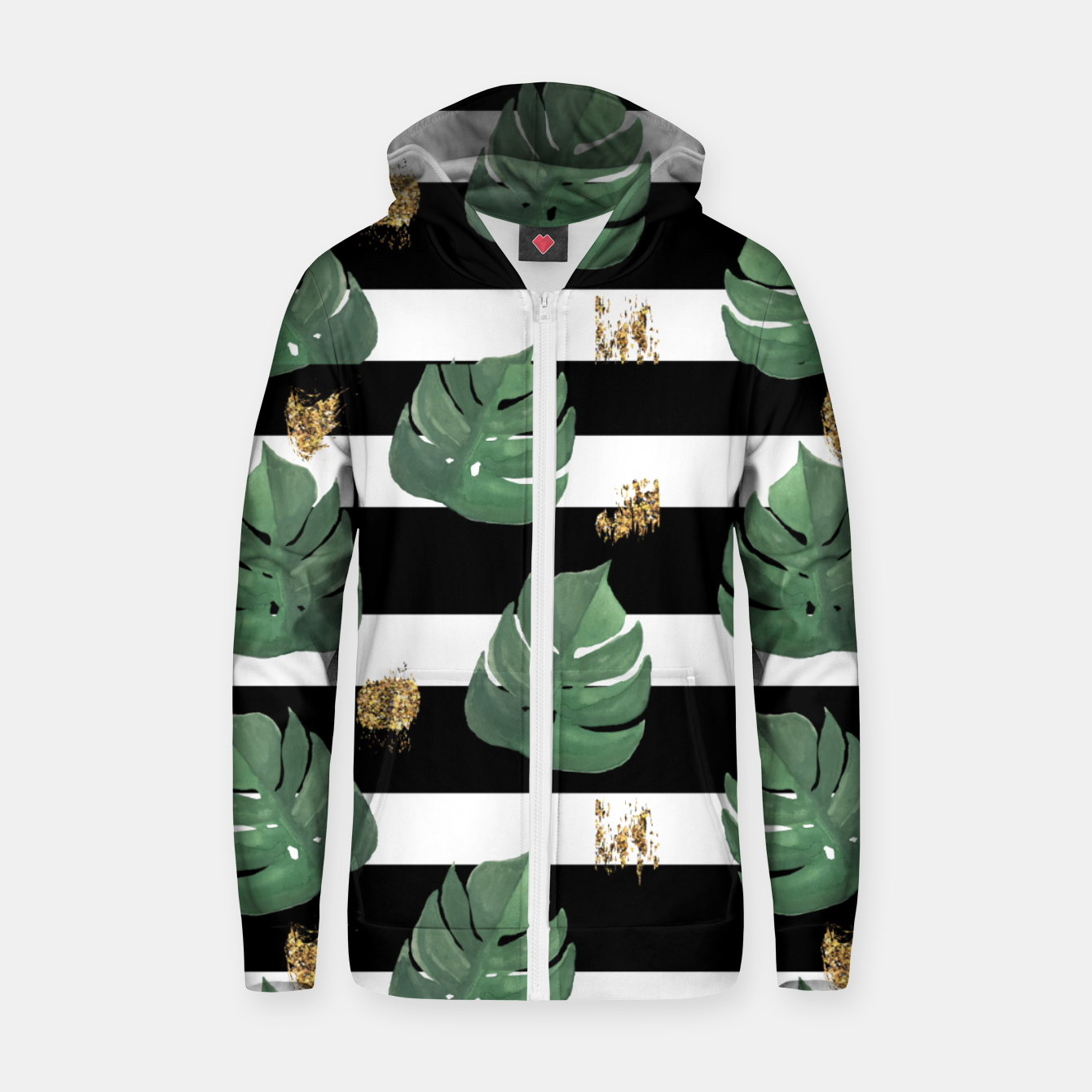 Image of Seamless tropical leaves pattern on stripes background. Greens leaves of exotic monstera plant. Retro style illustration. Zip up hoodie - Live Heroes