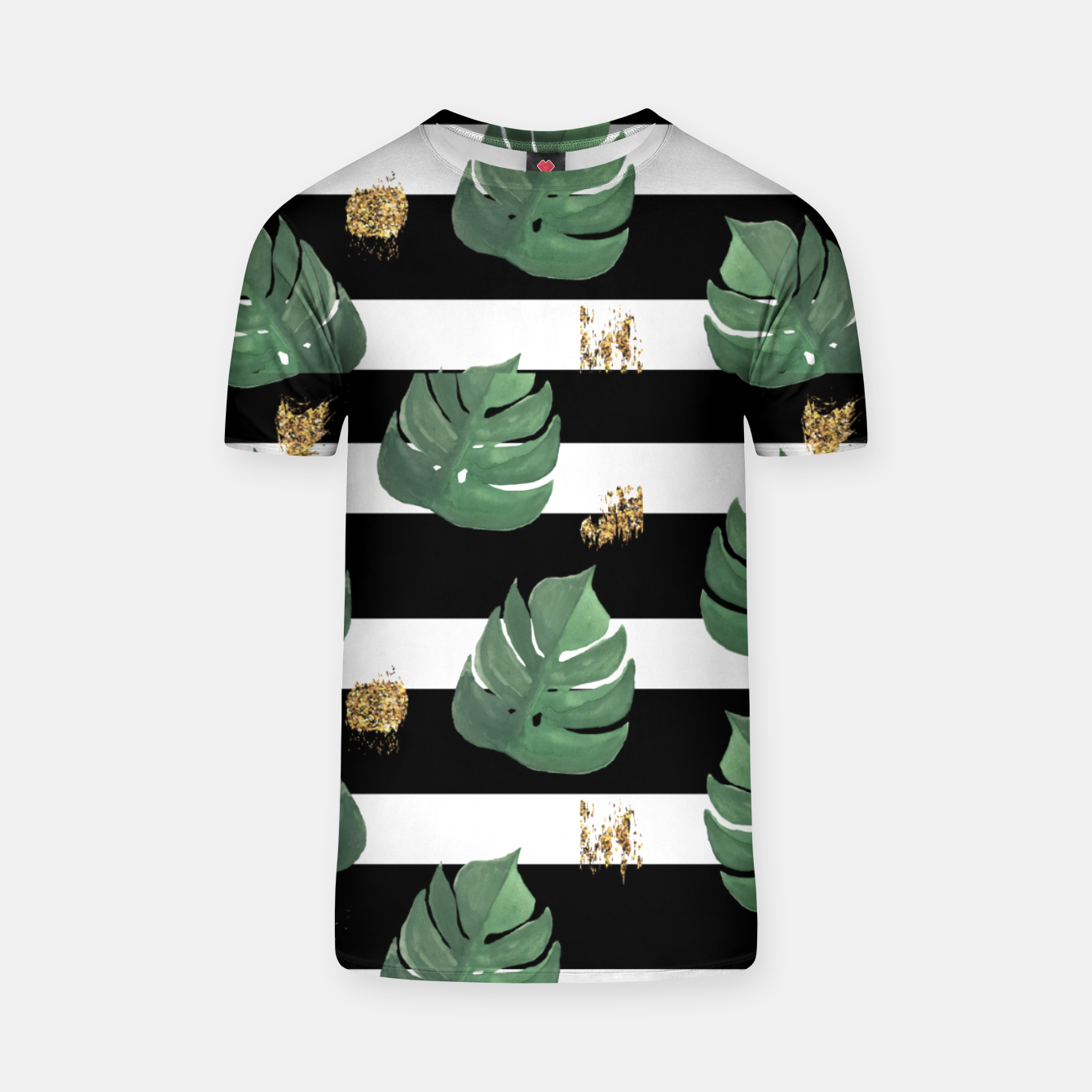 Image of Seamless tropical leaves pattern on stripes background. Greens leaves of exotic monstera plant. Retro style illustration. T-shirt - Live Heroes