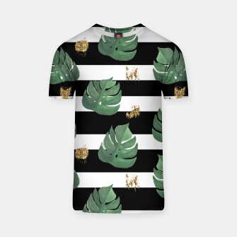 Thumbnail image of Seamless tropical leaves pattern on stripes background. Greens leaves of exotic monstera plant. Retro style illustration. T-shirt, Live Heroes