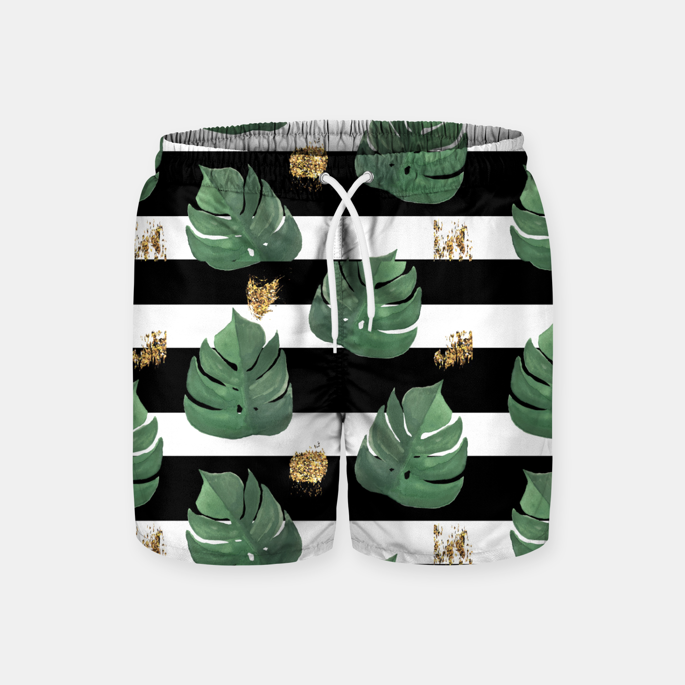 Image of Seamless tropical leaves pattern on stripes background. Greens leaves of exotic monstera plant. Retro style illustration. Swim Shorts - Live Heroes