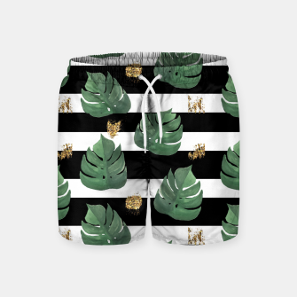 Thumbnail image of Seamless tropical leaves pattern on stripes background. Greens leaves of exotic monstera plant. Retro style illustration. Swim Shorts, Live Heroes