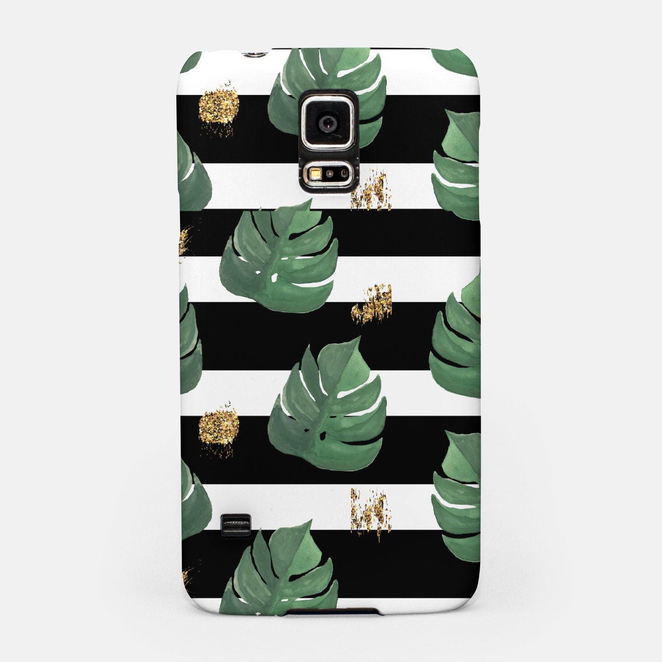 Image of Seamless tropical leaves pattern on stripes background. Greens leaves of exotic monstera plant. Retro style illustration. Samsung Case - Live Heroes