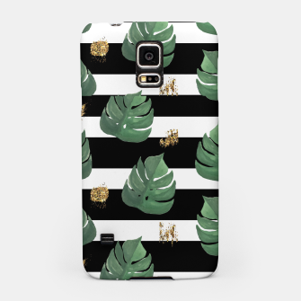 Thumbnail image of Seamless tropical leaves pattern on stripes background. Greens leaves of exotic monstera plant. Retro style illustration. Samsung Case, Live Heroes