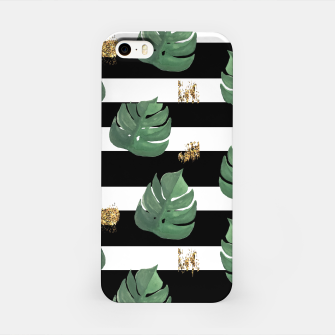 Imagen en miniatura de Seamless tropical leaves pattern on stripes background. Greens leaves of exotic monstera plant. Retro style illustration. iPhone Case, Live Heroes