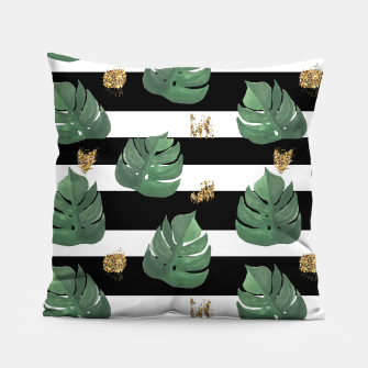 Thumbnail image of Seamless tropical leaves pattern on stripes background. Greens leaves of exotic monstera plant. Retro style illustration. Pillow, Live Heroes