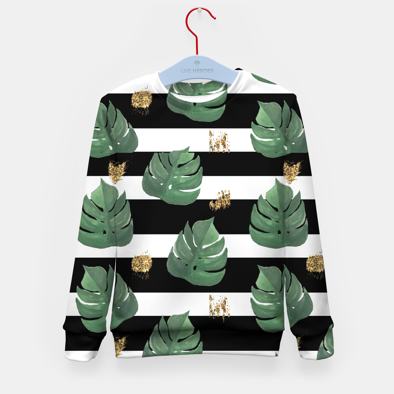 Image of Seamless tropical leaves pattern on stripes background. Greens leaves of exotic monstera plant. Retro style illustration. Kid's sweater - Live Heroes