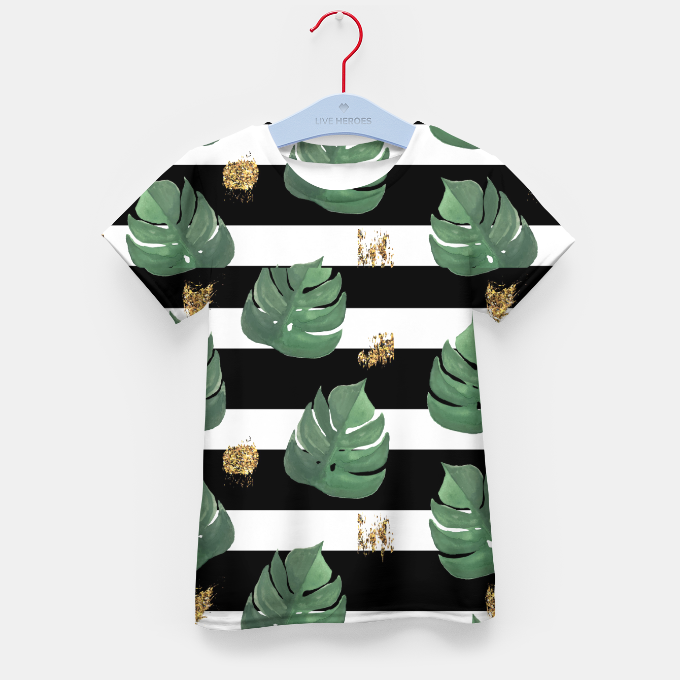 Image of Seamless tropical leaves pattern on stripes background. Greens leaves of exotic monstera plant. Retro style illustration. Kid's t-shirt - Live Heroes