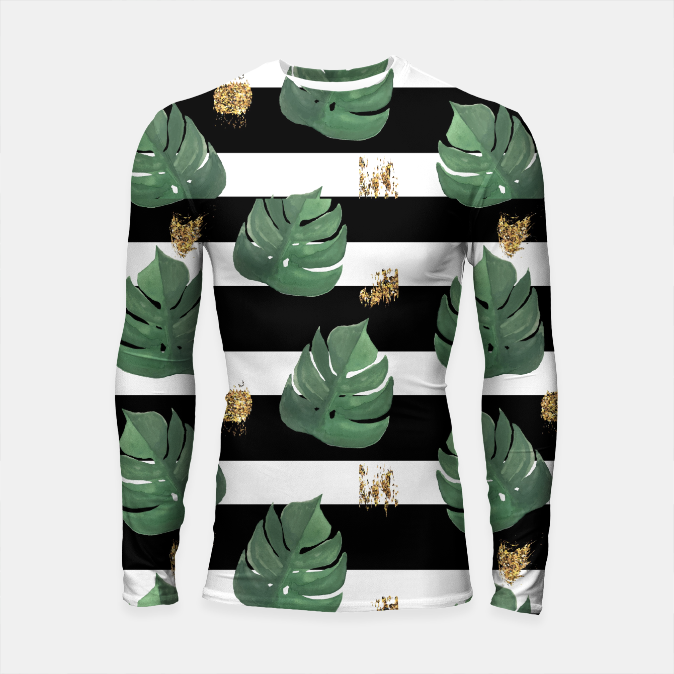 Image of Seamless tropical leaves pattern on stripes background. Greens leaves of exotic monstera plant. Retro style illustration. Longsleeve rashguard  - Live Heroes