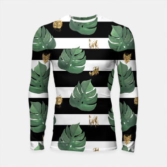Miniatur Seamless tropical leaves pattern on stripes background. Greens leaves of exotic monstera plant. Retro style illustration. Longsleeve rashguard , Live Heroes