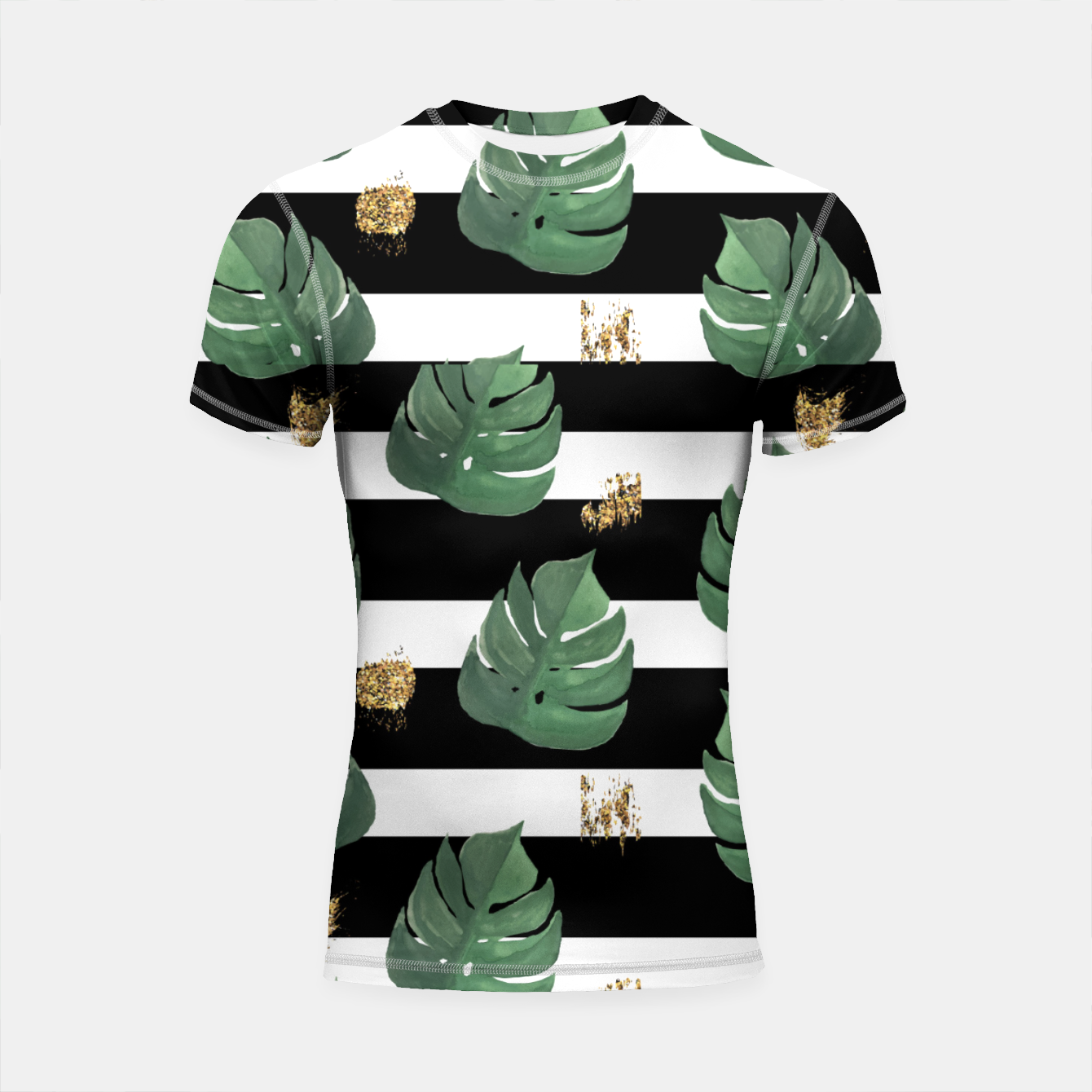 Image of Seamless tropical leaves pattern on stripes background. Greens leaves of exotic monstera plant. Retro style illustration. Shortsleeve rashguard - Live Heroes
