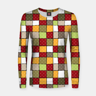 Thumbnail image of Retro Squares with polka dots vintage colors geometric shapes Women sweater, Live Heroes