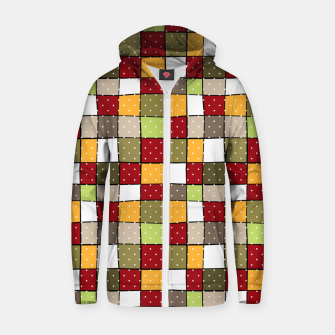 Thumbnail image of Retro Squares with polka dots vintage colors geometric shapes Zip up hoodie, Live Heroes