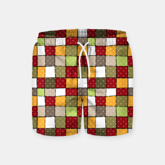 Thumbnail image of Retro Squares with polka dots vintage colors geometric shapes Swim Shorts, Live Heroes