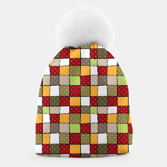 Miniaturka Retro Squares with polka dots vintage colors geometric shapes Beanie, Live Heroes