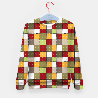 Thumbnail image of Retro Squares with polka dots vintage colors geometric shapes Kid's sweater, Live Heroes