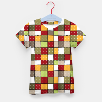 Thumbnail image of Retro Squares with polka dots vintage colors geometric shapes Kid's t-shirt, Live Heroes