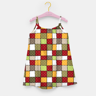 Miniaturka Retro Squares with polka dots vintage colors geometric shapes Girl's dress, Live Heroes