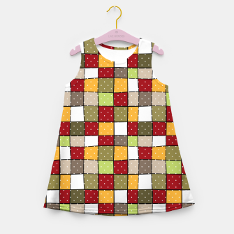 Miniaturka Retro Squares with polka dots vintage colors geometric shapes Girl's summer dress, Live Heroes