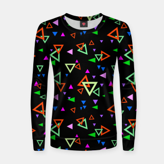Thumbnail image of Abstract bright geometric triangles shapes black multicolor bright Women sweater, Live Heroes