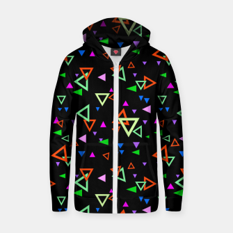 Thumbnail image of Abstract bright geometric triangles shapes black multicolor bright Zip up hoodie, Live Heroes
