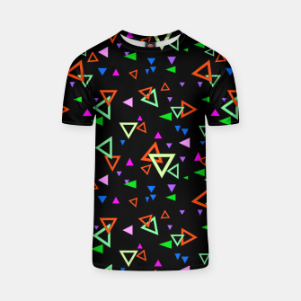 Thumbnail image of Abstract bright geometric triangles shapes black multicolor bright T-shirt, Live Heroes