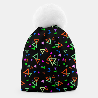 Imagen en miniatura de Abstract bright geometric triangles shapes black multicolor bright Beanie, Live Heroes