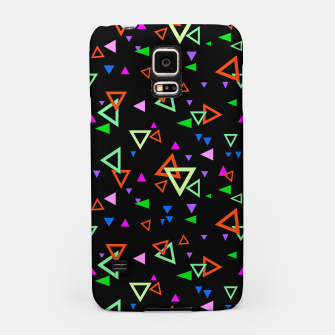 Thumbnail image of Abstract bright geometric triangles shapes black multicolor bright Samsung Case, Live Heroes