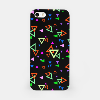 Imagen en miniatura de Abstract bright geometric triangles shapes black multicolor bright iPhone Case, Live Heroes