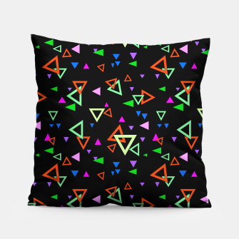 Thumbnail image of Abstract bright geometric triangles shapes black multicolor bright Pillow, Live Heroes