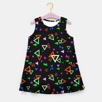 Imagen en miniatura de Abstract bright geometric triangles shapes black multicolor bright Girl's summer dress, Live Heroes