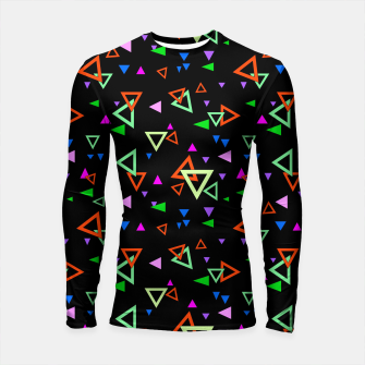 Imagen en miniatura de Abstract bright geometric triangles shapes black multicolor bright Longsleeve rashguard , Live Heroes