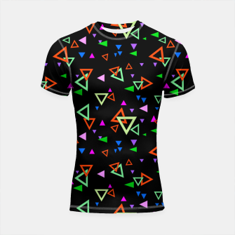 Imagen en miniatura de Abstract bright geometric triangles shapes black multicolor bright Shortsleeve rashguard, Live Heroes